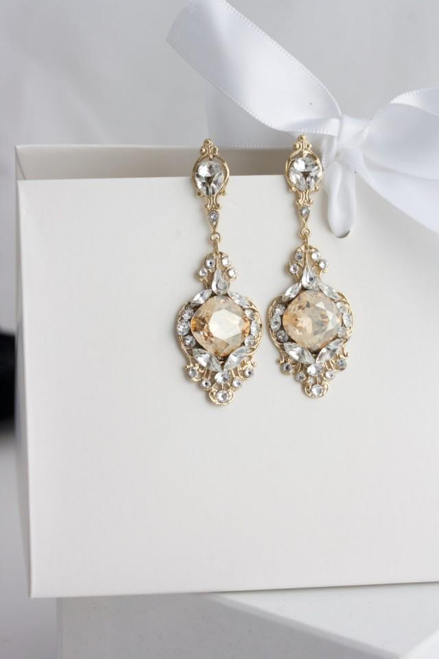 Gold crystal bridal earrings golden shadow crystal for Jewelry for champagne wedding dress