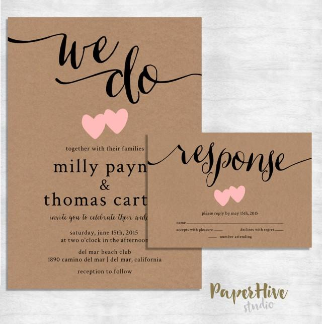 Rustic Wedding Invitation / Kraft Paper Wedding Invite Set