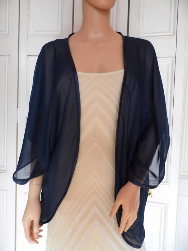 Navy Blue Chiffon Kimono Jacket Wrap Cover Up Bolero With Satin Edging 2505375 Weddbook