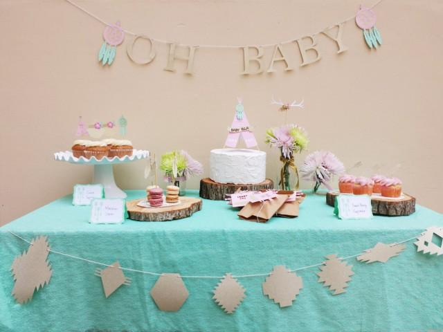 Boho chic baby shower decorations package southwestern for Baby shower decoration packages