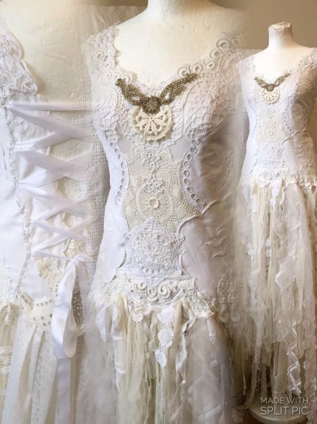 Handmade wedding dress unique boho wedding dress lace for Unique bohemian wedding dresses