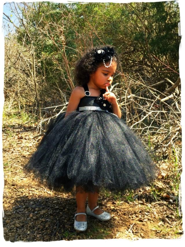 Little black dress black flower girl dress black tutu for Little black wedding dress