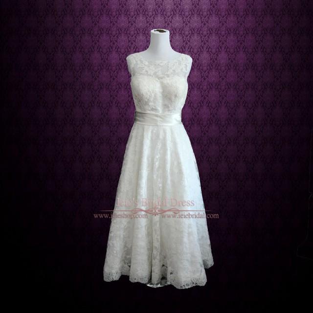 Retro boat neck lace tea length wedding dress 2506019 for Vintage t length wedding dresses