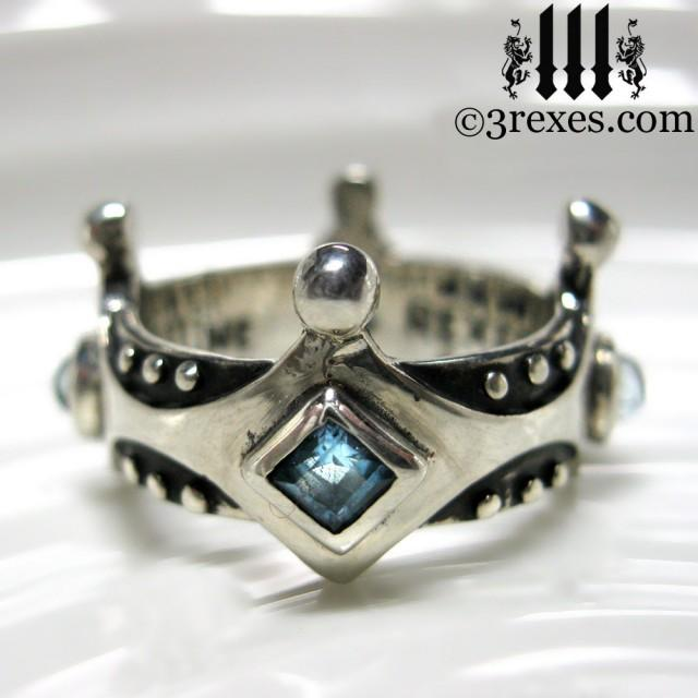 Wedding Photo Silver Crown Engagement Ring Brandy Wine Gothic Meval Band Blue Topaz Size 9