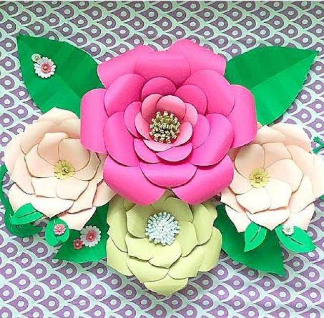 Diy large paper flower templates paper flower kit paper for Big flower paper template