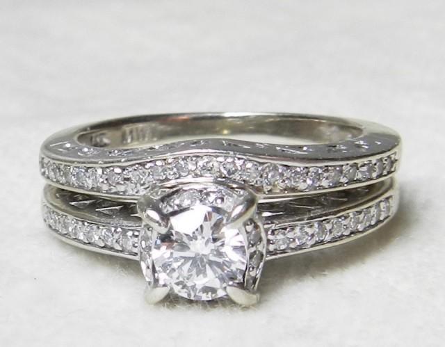 Art Deco Wedding Ring Set Diamond Engagement Ring Matching Wedding Band 045 Cttw 14k White Gold