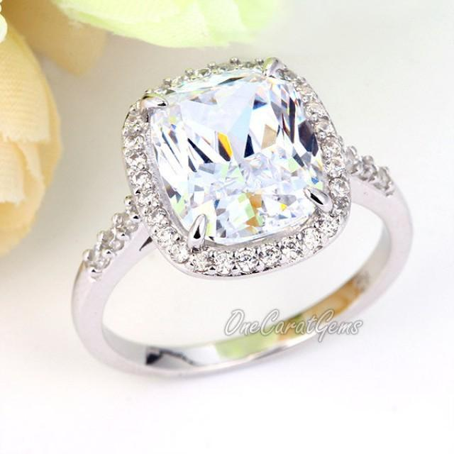 6 Carat Wedding Bridal Engagement Ring Rectangle Cushion Cut Lab Made Diamond
