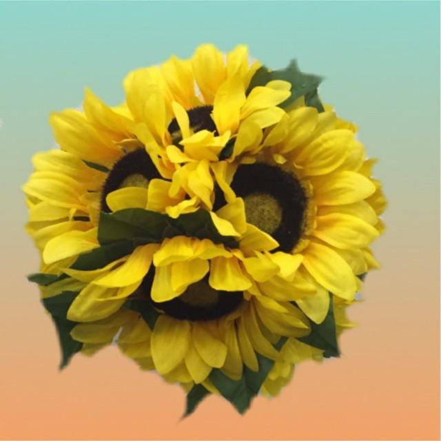 Rustic sunflower wedding flower kissing ball pomander