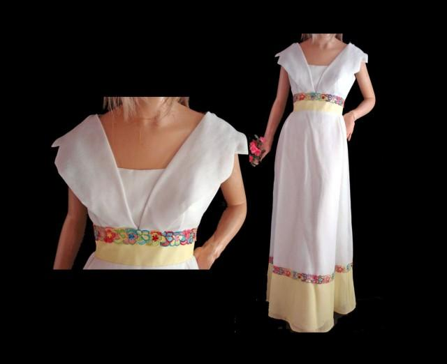 mod 60s prom dress yellow and white formal empire waist
