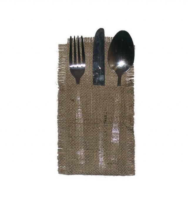 wedding photo - Rustic burlap Cutlery holders, Rustic wedding table cutlery, burlap cutlery holders, burlap silverware pocket, burlap cutlery,