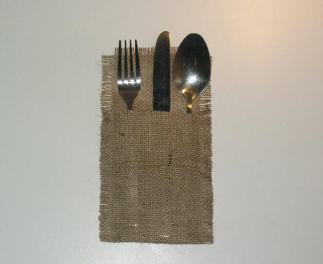 wedding photo - Rustic burlap wedding Cutlery holders, Rustic table cutlery, burlap cutlery holders, burlap silverware pocket, burlap cutlery