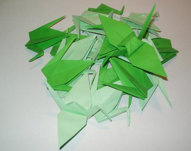 wedding photo - Origami Paper Wedding Crane green tone, Set of 1000 Wedding Crane, Origami Crane, Green Crane, Wedding Decoration Crane, Origami wedding