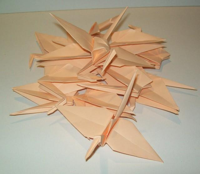 wedding photo - Wedding origami crane decor, Set of 1000 peach origami crane for wedding, wedding decor crane, origami crane, origami peach crane, wedding