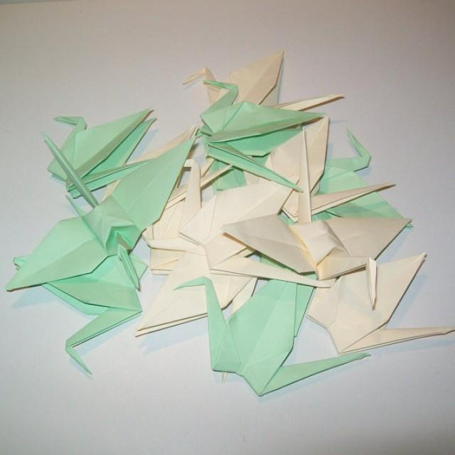 wedding photo - Origami crane, Set of 1000 wedding crane, wedding decor origami crane, light green crane, cream crane, origami crane, decoration crane