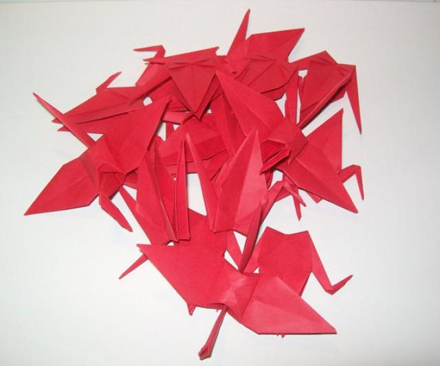 wedding photo - Wedding origami crane, Set of 100 red origami crane for wedding, wedding decor crane, origami crane, origami red crane, wedding crane