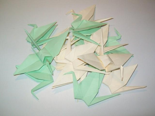 wedding photo - Wedding origami crane,Set of 100 wedding crane, wedding decor origami crane, light green crane, cream crane, origami crane, decoration crane