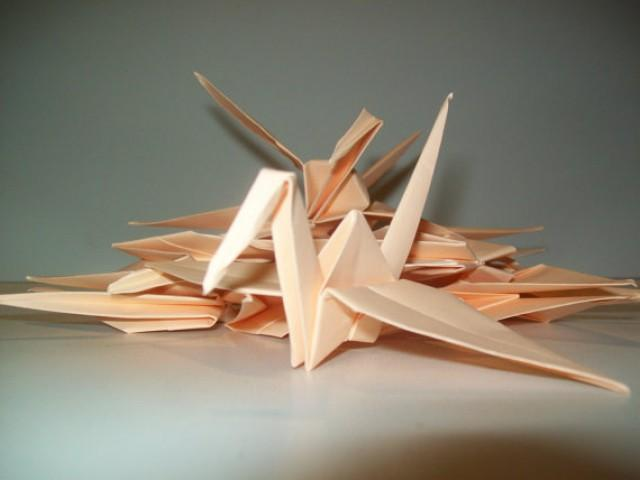 wedding photo - Wedding origami crane decor, Set of 100 peach origami crane for wedding, wedding decor crane, origami crane, origami peach crane, wedding