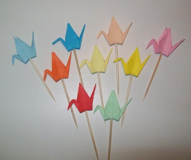 wedding photo - Origami Crane cupcake topper, Set of 50 Wedding cake topper, wedding crane topper, Cupcake topper, origami crane, wedding decoration