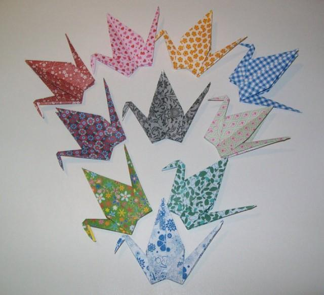 wedding photo - Set of 100 Origami Paper Wedding Crane, Wedding Crane, Origami Crane, Handmade Crane, Wedding Decoration Crane,