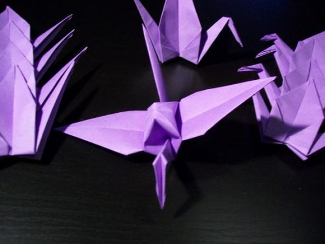 wedding photo - Origami Paper Wedding Crane Violet, Purple, Wedding Crane, Origami Crane, Purple Crane,Wedding Decoration Crane,Origami wedding,Set of 1000