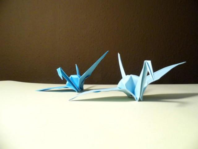 wedding photo - Origami Paper Wedding Crane blue tone, Wedding Crane, Origami Crane, Blue Crane, Wedding Decoration Crane, Origami wedding, Set of 1000