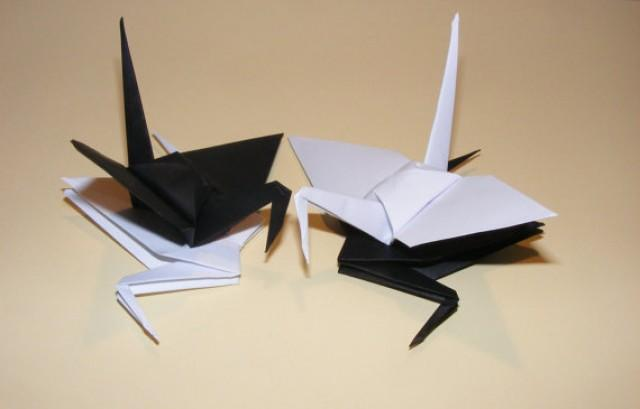 wedding photo - Origami wedding crane, paper origami crane, origami crane, set of 100 black-white crane, decoration crane