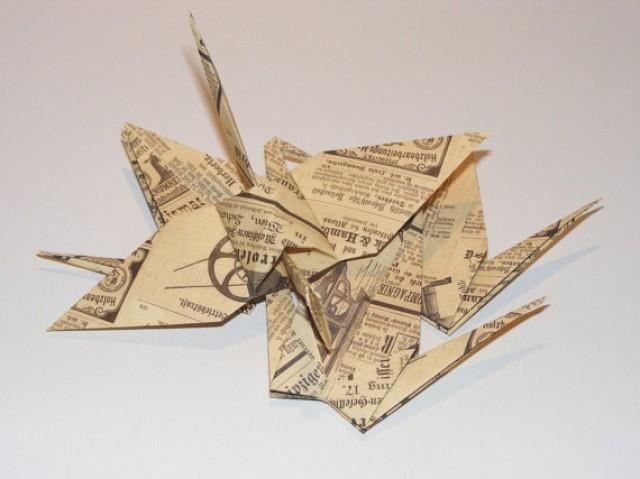 wedding photo - Vintage origami wedding crane, vintage crane for wedding, wedding origami crane, origami ornament, crane decor, vintage crane, Set of 100