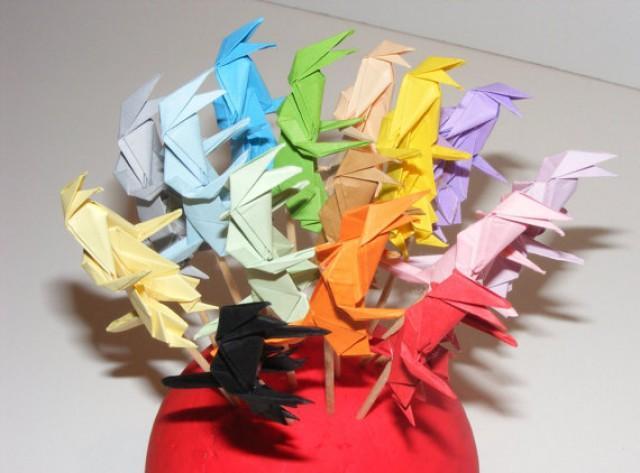 wedding photo - Origami cupcake topper, dino cupcake topper, dinosaur party cupcake topper, jurassic park cupcake topper, origami dinos, origami dinosaur