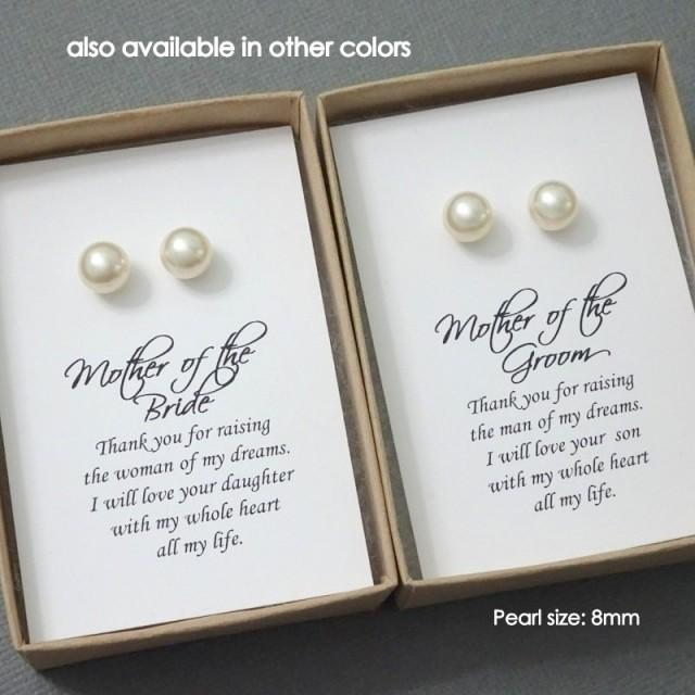 Mother Of The Groom Or Bride Gift Set Swarovski Ivory Stud Pearl Traditional Wedding