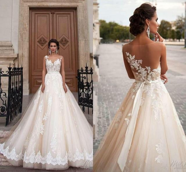 wedding photo - Stunning 2016 Milla Nova Sheer Castle Wedding Dresses Ball Illusion Back Appliques Lace Chapel Train Bridal Gown For Western Style Online with $108.55/Piece on Hjklp88's Store