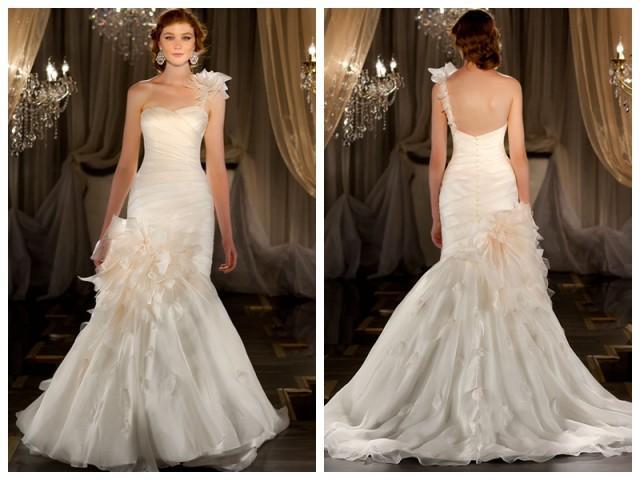 wedding photo - One-shoulder Ruched Sweetheart Mermaid Wedding Dress