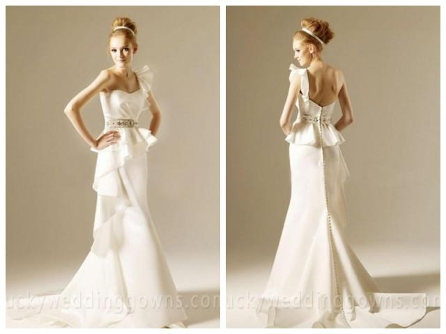 wedding photo - Trumpet/Mermaid One Shoulder Court Train White Wedding Dresses