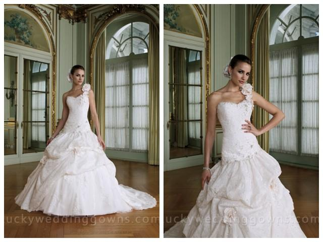 wedding photo - One-shoulder Bridal Ball Gown with Pick-up Lace Skirt