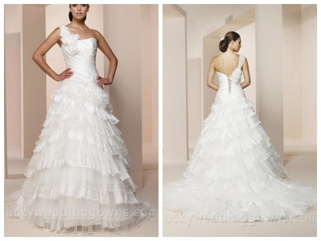 wedding photo - One-shoulder Organza Wedding Dress with Lace-up Back