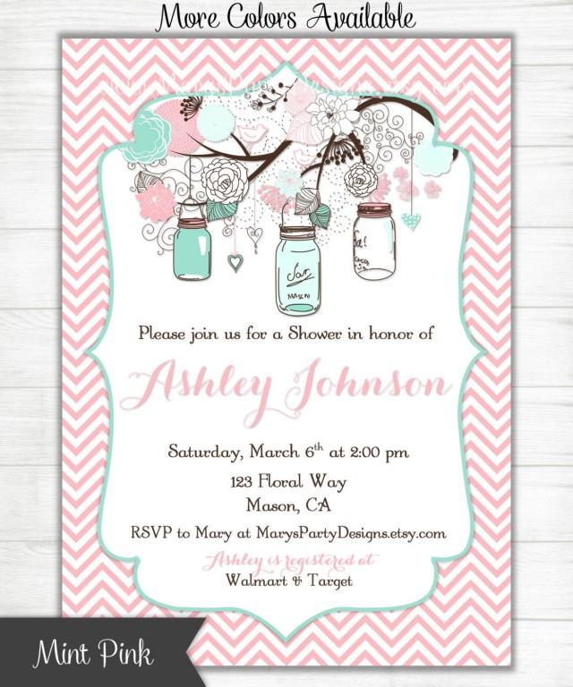 baby shower invitation mint green pink chevron mason jars flowers