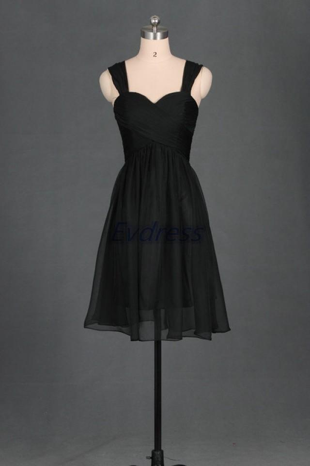 2016 short black chiffon sweetheart bridesmaid dress cheap for Simple wedding dresses under 200