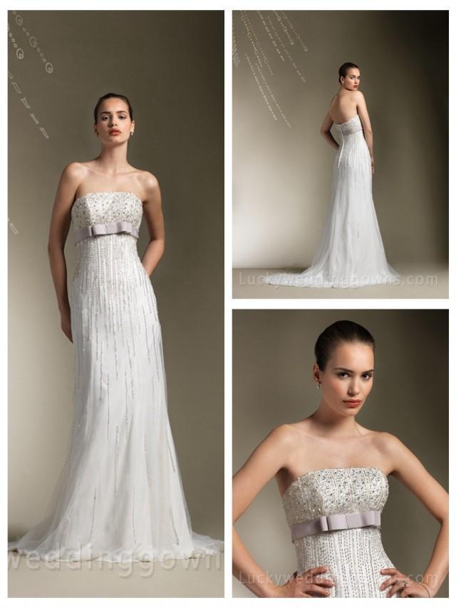 wedding photo - Charming Beaded Strapless A-line Floor Length Wedding Dress with Sweep Train