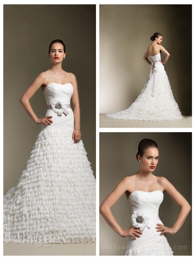 wedding photo - Beautiful Sweetheart Chiffon Asymmetrical Formal Wedding Dress with Full Skirt