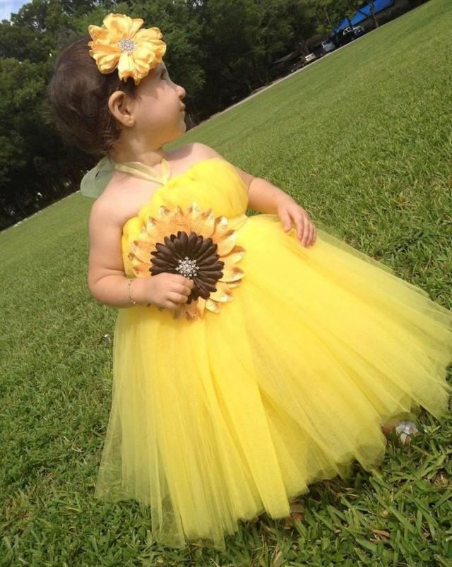 Yellow gold tulle sunflower flower girl dress with belt for Matching wedding and flower girl dresses