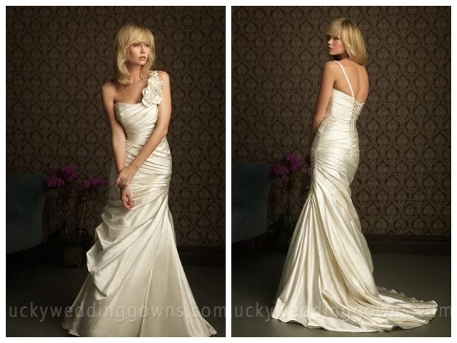 wedding photo - http://www.luckypromdress.com/ivory-one-shoulder-flower-ruffles-sheath-unique-wedding-dresses-p-545.html