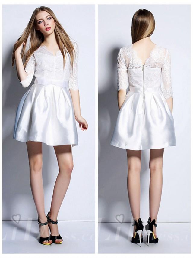 wedding photo - White Half Sleeves Short Dress