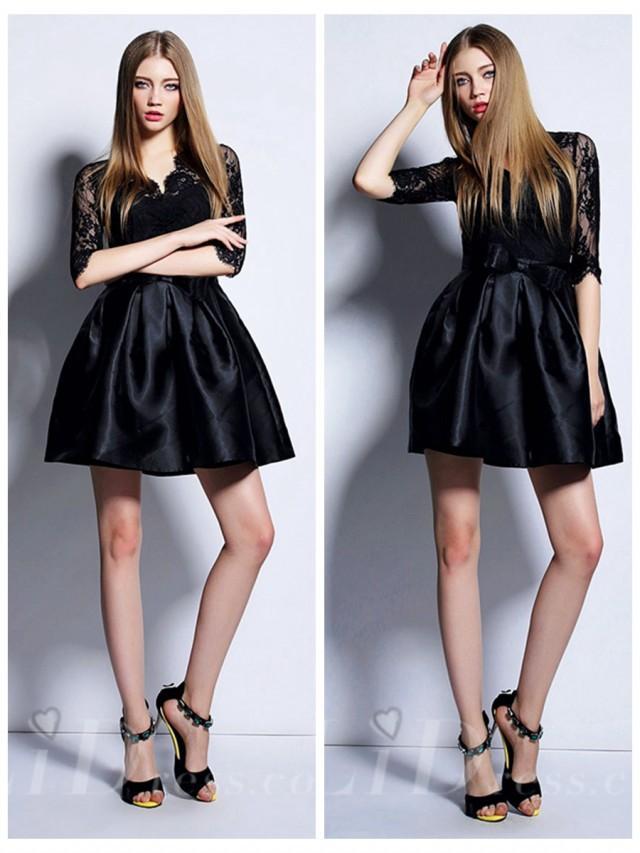 wedding photo - Black Half Sleeves Short Dress