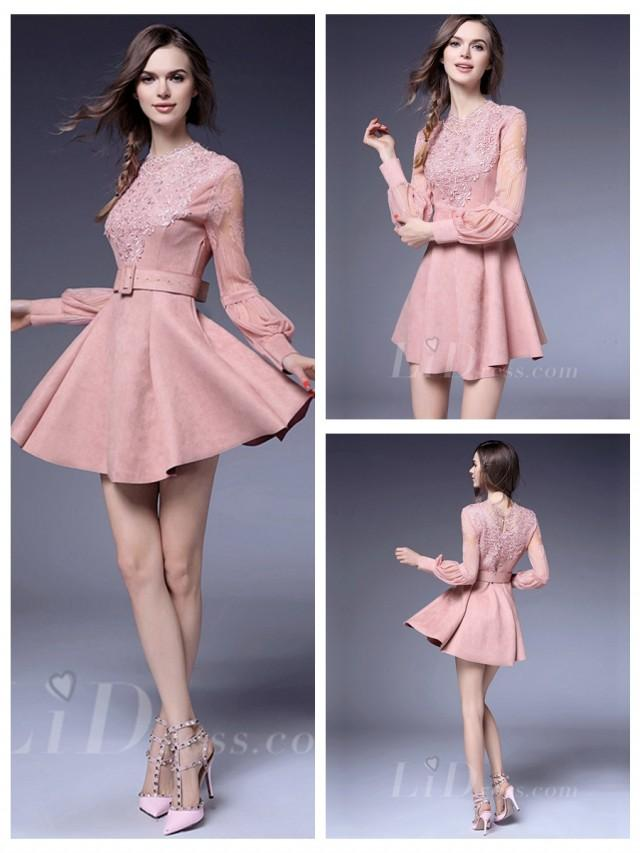 wedding photo - Pink Long Sleeves Coctail Dress
