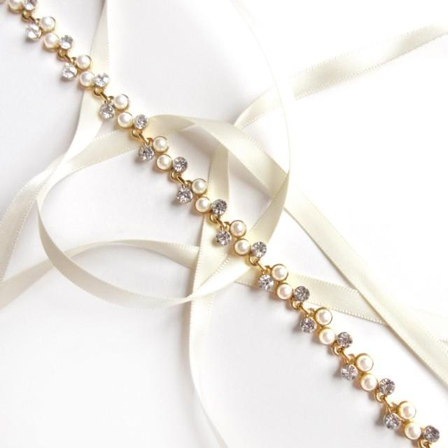 Gold Pearl And Rhinestone Bridal Headband Or Thin Belt
