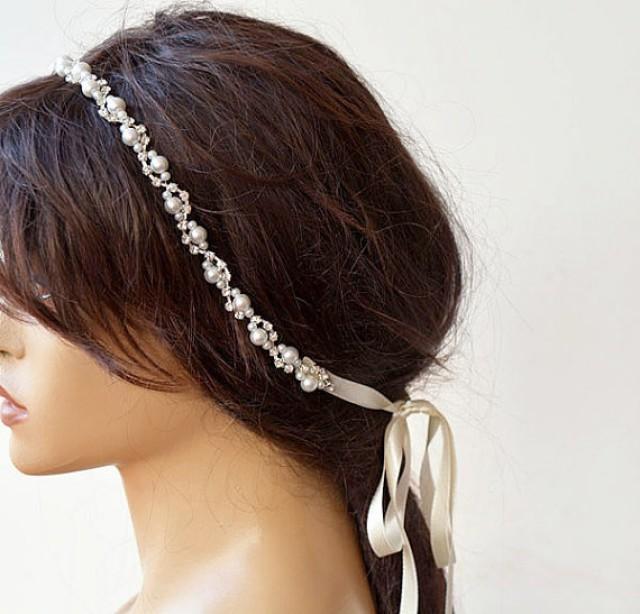 wedding photo - Bridal Rhinestone and Pearl headband, Wedding Headband, Bridal Hair Accessory, Wedding Accessory