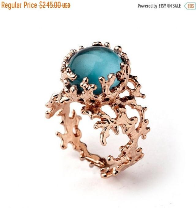 Sale 20 Off Coral London Blue Topaz Engagement Ring