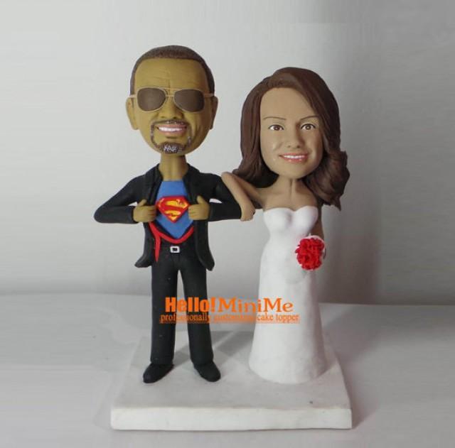 cake topper wedding cake topper bobblehead opening shirt superman cake topper bobble head custom. Black Bedroom Furniture Sets. Home Design Ideas
