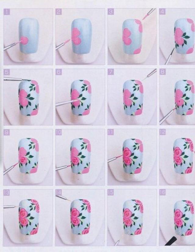 Как поэтапно нарисовать цветок на ногтях поэтапно
