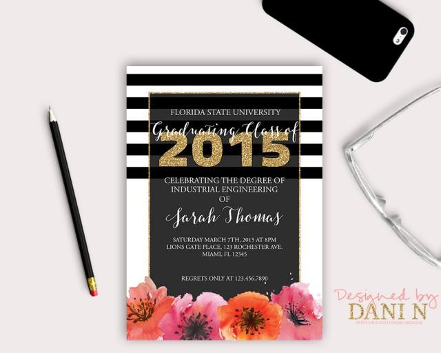 graduation invitation floral party invite black and gold stripes floral grad invite