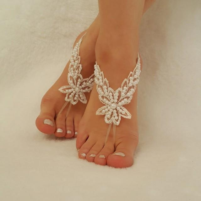 wedding photo - ivory pearl processing beach wedding handmade woman accessory lace bangle barefoot shoes embroidered free ship anklets